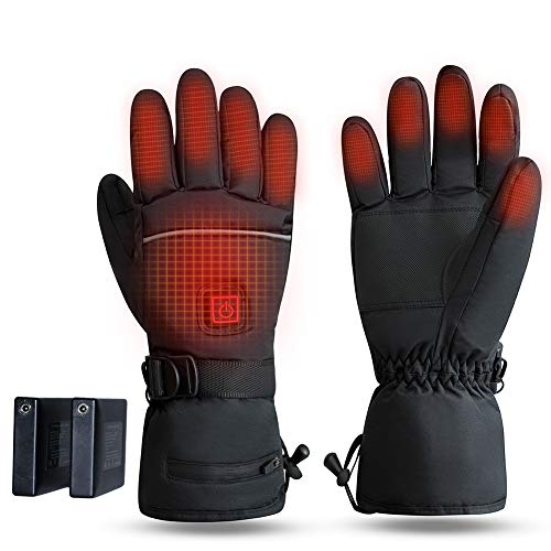 FaSoLa Beheizte Handschuhe Motorrad, Wiederaufladbar Akku Elektrische Handschuhe Mit Touchscreen für Männer Frauen, 3.7V 4000mAh Waschbarer Heizung Handwärmer zum Reiten Radfahren Angeln Ski Jagd