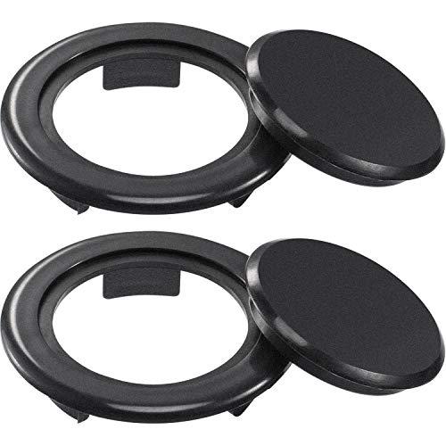 Bememo 2 Inch Patio Table Umbrella Hole Ring and Cap Set, Standard Size Umbrella Thicker Hole Ring Plug and Cap Set (Black, 2 Set)