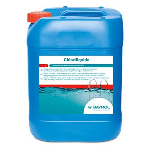 BAYROL Chloriliquide 20 L - Flüssigchlor zur Dauerdesinfektion von Poolwasser - ideal für automatische Dosiersysteme - hochwertiges flüssiges Konzentrat Basis von anorganischem Chlor