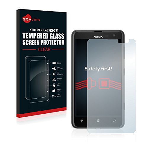 Savvies Panzerglas kompatibel mit Nokia Lumia 625 - Echt-Glas, 9H Festigkeit, Anti-Fingerprint