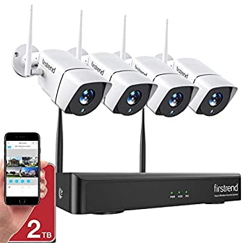 1080P Wireless Security Camera System Firstrend 8CH Wireless NVR System with 4pcs 1080P Security IP Camera and 2TB Hard Drive Pre-Installed 65ft Night Vision and Easy Remote Monitoring