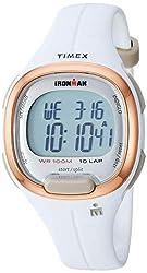 powerful Ladies Timex TW5M19900 Ironman Transit Medium White / Rose Gold Resin Watch