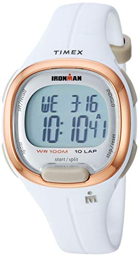 Timex Women's TW5M19900 Ironman Transit Mid-Size White/Rose Gold-Tone Resin Strap Watch