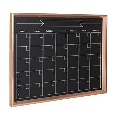 Kate and Laurel Calter Framed Magnetic Chalkboard Monthly Calendar, 21.5x27.5, Rose Gold