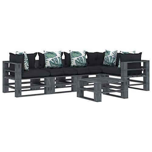 FAMIROSA Muebles de palés jardín 6 pzas Madera Cojines de Flores y Gris (127,3kg)-2623