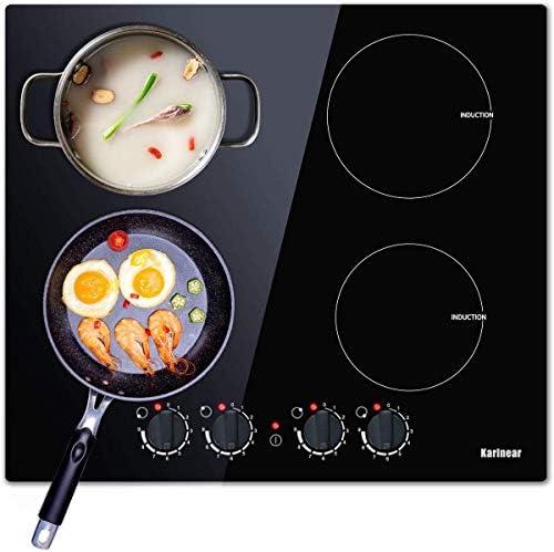 Karinear Placa de inducción doble eléctrica para cocina de inducción, 60 cm, con placa de cocción de cristal negro sin pulido