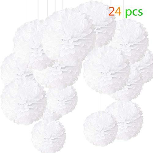 24 Stück Seidenpapier Pompoms Blumen Ball Dekorpapier Kit für Geburtstag Hochzeit Baby Dusche Parteien Hauptdekorationen und Partei Dekoration - Drei verschiedene Größen von Weiß