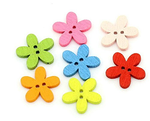 Da.Wa - 100 botones de madera de 15 mm, 2 agujeros, para camisas, hebillas, botones en forma de flor, para manualidades, costura, ropa de bebé, color al azar