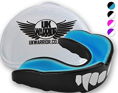 Protector bucal UK Warrior 'Vampire', para boxeo, artes marciales, karate, rugby y otros deportes de contacto, incluye caso , color negro y azul, tamaño adulto