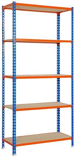 Estantería metálica sin tornillos Maderclick de 5 estantes Azul/Naranja/Madera Simonrack 2000x1000x500 mms - Estantería con aglomerado - Estantería para despensa - 150 Kgs de capacidad por estante