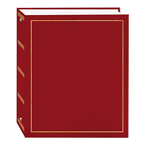 Magnetic Self-Stick 3-Ring Photo Album 100 Pages (50 Sheets), Red