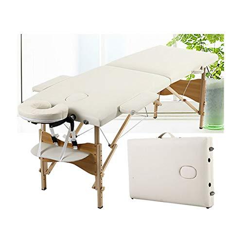 Massagetisch Höhenverstellbar Massageliege Massagebank Mobile Kosmetikliege Klappbar Leicht Tragbar 2 Zone Holzfüßen mit einer Tragetasche (bis 230kg belastbar) -Beige
