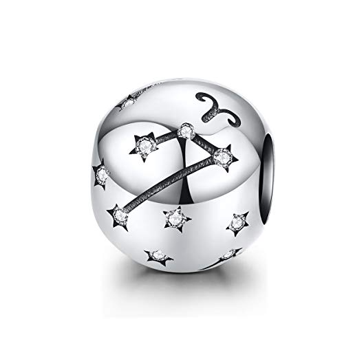 LaMenars 12 Constelación Abalorios Charms Plata de Ley 925, Abalorios de Zodiaco Compatible con Pulsera Pandora & Europeo, Regalo de Cumpleaños Significativo (Aries (3.21-4.19))