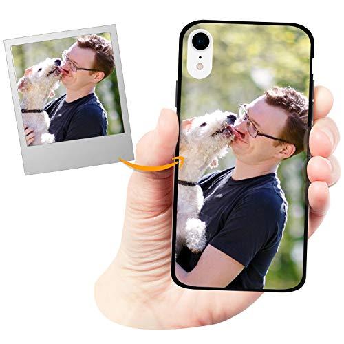 Coverpersonalizzate.it Cover Personalizzata Nera Biologica a Basso Impatto Ambientale per Apple iPhone XR - Custodia Semirigidadi Colore Nero- Stampa di altissima qualità.