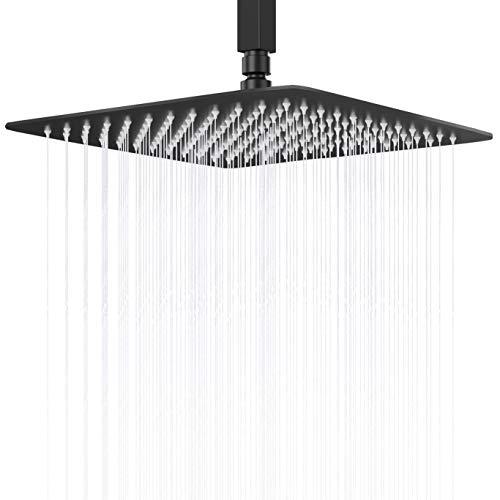 Cabezal de ducha de lluvia, cabezal cuadrado de acero inoxidable 304, diseño ultrafino de alta presión, cómoda experiencia de ducha incluso con bajo flujo de agua, cabezal de ducha grande negro mate (30,5 cm)