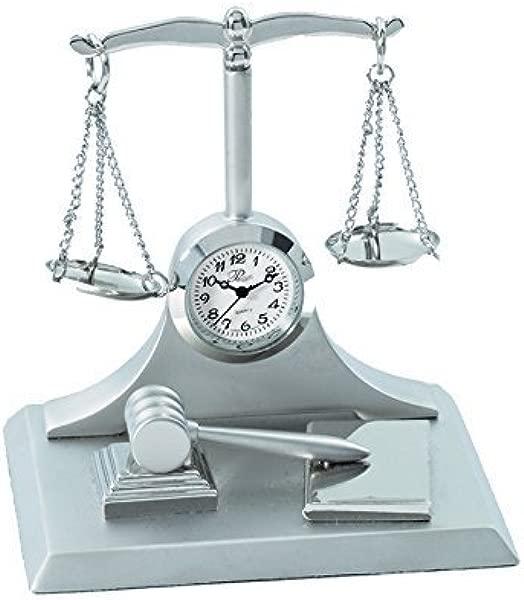Sanis Enterprises Scales Of Justice Multi Clock 3 By 3 Inch Silver By Sanis Enterprises
