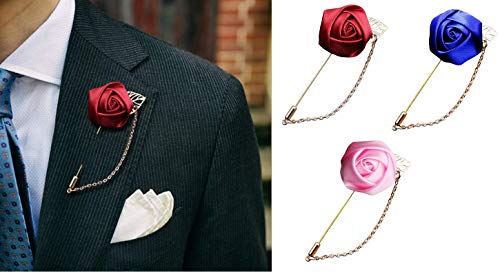 3 Pieces Flower Corsage Brooch Pins for Men