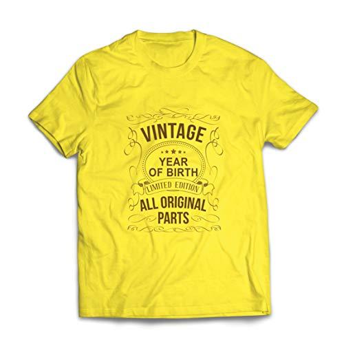 lepni.me Camisetas Hombre Año Personalizado Todas Las Piezas Originales Regalo de cumpleaños Vintage (Small Amarillo Multicolor)