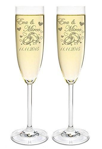 LEONARDO 2 Sektgläser mit Gravur des Namens zur Hochzeit Motiv Ringe Sekt-Glas graviert Geschenkidee