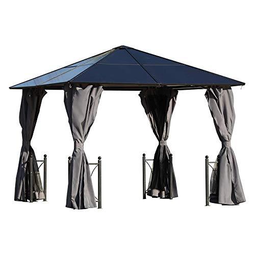 Outsunny Pavillon de Jardin tonnelle Rigide dim. 3L x 3l x 2,63H m 4 parois latérales Anti-UV Grise 4 moustiquaires zippées alu Polycarbonate Noir