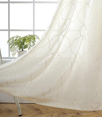 MIUCO Moroccan Embroidery Semi Sheer Curtains Faux Linen Grommet Curtains for Bedroom 52 x 63 Inch 2 Panels, Off White
