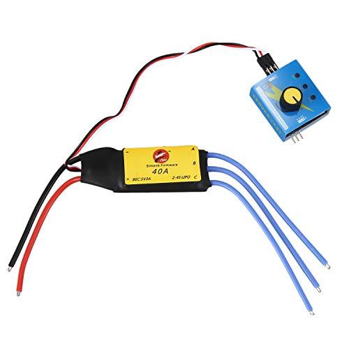 FRTUI Controlador de Unidad 12V 40A Esc Max 480W para Turbocompresor Eléctrico de Coche Turbo Cargador Ventilador de Entrada de Aire de Refuerzo de Bronceado