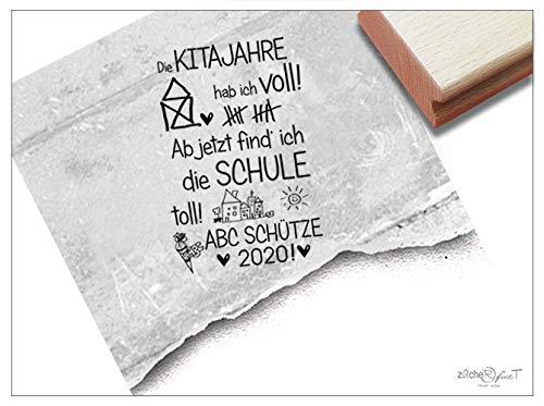 Stempel XL mit Spruch Kitajahre. - Großer Textstempel zur Einschulung Schulanfang Schultüte Kita Schule Geschenk für Kinder Deko - zAcheR-fineT