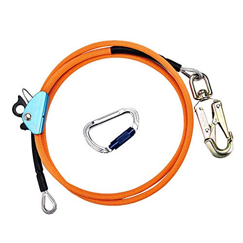 HUKOER 12mm*2,4m Stahlseilkern-Flip-Line-Kits mit Triple Lock-Karabiner, verstellbares Lanyard, niedrige Dehnung für Absturzsicherung, Baumpfleger, Baumkletterer