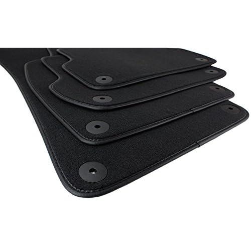 kfzpremiumteile24 Alfombrillas de terciopelo 4 piezas en negro de calidad original con borde de cuero