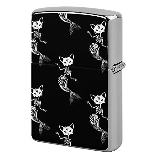 Custodia per accendino tascabile, unisex, in metallo, idea regalo per sigarette, sigari, candele, scheletri, gatti, sirene, danza, vacanze, sirene.