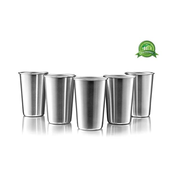 Premium Stainless Steel Cups – 16 Ounce Stainless Steel Pint Cup Tumblers –...