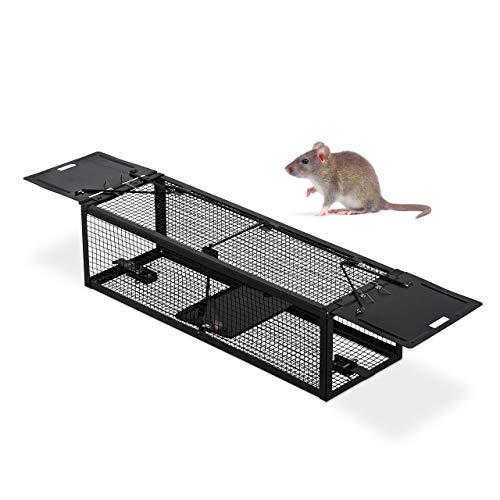 Relaxdays Lebendfalle, für Mäuse & Ratten, tierfreundlich, wiederverwendbar, Käfigfalle, HBT: 11 x 39 x 12,5 cm, schwarz