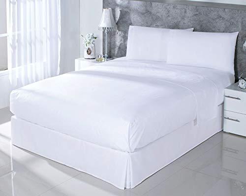 Dhestia Hostelería-Juego Sábanas Blancas Hotel 100% Algodón, Encimera, Bajera, Fundas Almohada, (Cama 90 X 190/200 Cm)