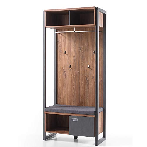 Lomadox Kompakt-Garderobe im Industrial Design, Stirling Oak Eiche, anthrazit, B/H/T: 90/202/45 cm