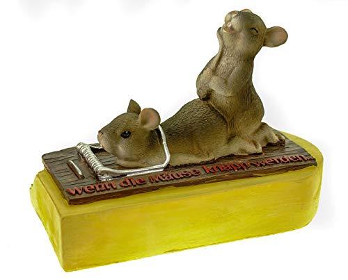 U. Schmidt Hucha con forma de pareja de ratones sobre trampa para queso, si los ratones son escasos.