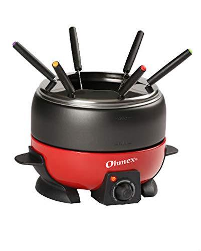 Ohmex OHM-FND-1000G- Hornillo de fundición (800 W, termostato regulable, 6 tenedores de fondua-sartén)