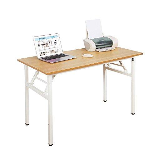 SogesHome Mesa de Escritorio Plegable para computadora 120 x 60 x 75 cm Escritorio para computadora Escritorio de Oficina Mesa de Escritura, Mesa de Conferencia,Teca & Blanco, AC5BW-120-SH