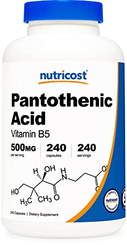 Nutricost Pantothenic Acid (Vitamin B5) 500mg, 240 Capsules