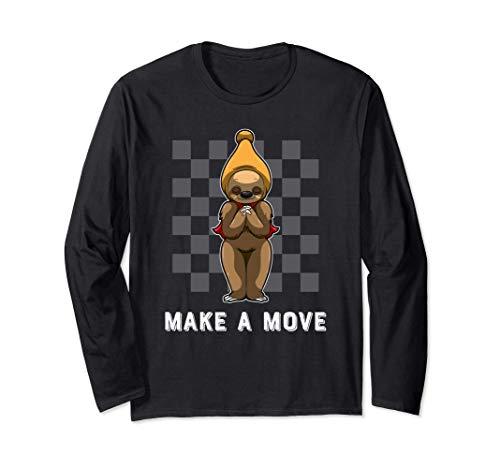 ナマケモノのビショップの部分とチェス盤のパターン - チェス 長袖Tシャツ