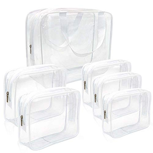 Clear Makeup Bags, APREUTY TSA Approved 6Pcs Cosmetic Makeup Bags Set Waterproof Clear PVC with Zipper Handle Portable Travel Luggage Pouch Airport Airline Vacation Organization