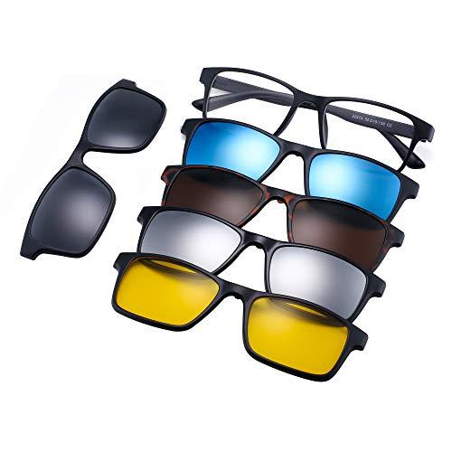 Magnético 5 Piezas Polarizadas Clip en Gafas de Sol Marco Plástico Rectángulo Para Conducción Nocturna 2247A