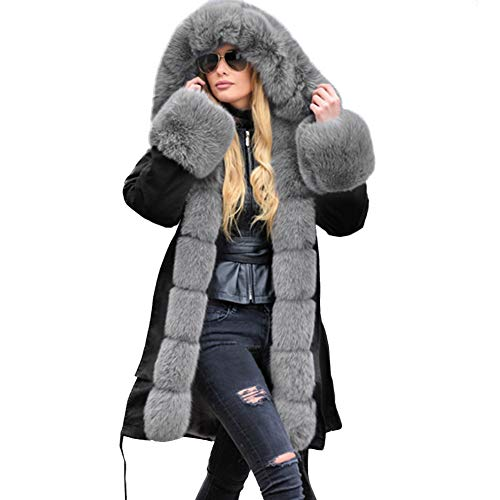 FAXIKIO Damen Wintermantel aus Kunstpelz mit Kapuze, warm, dick, hohe Taille, Parka Gr. 42, Grau / Schwarz