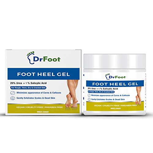 Dr Foot, Foot Heel Gel 20% Urea and 1% Salicylic Acid Moisturizes Callus Cracked Rough Dry Dead Skin and Corns Softens Thick Painful Nails - 100gm