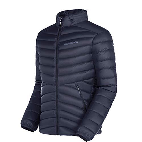 emansmoer Hommes Outdoor Coupe-Vent Léger Packable Doudoune Sports Ski Climbing Jogging Chaud Neige Parka Outerwear (2XL, Bleu foncé)