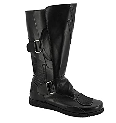 Allten Mens Darth Maul Black Leather Boots Shoes Halloween Cosplay Costume (8.5 M US Male) from ALLTEN