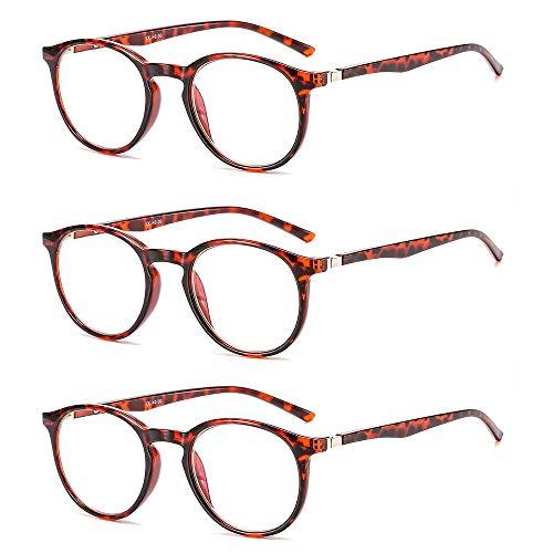 Suertree Anti Blue Lesebrille 3 Pack Computer Brille Herren Damen Anti Rays Lesebrillen für Frauen Männer Fashion Leser 2.5X JH251