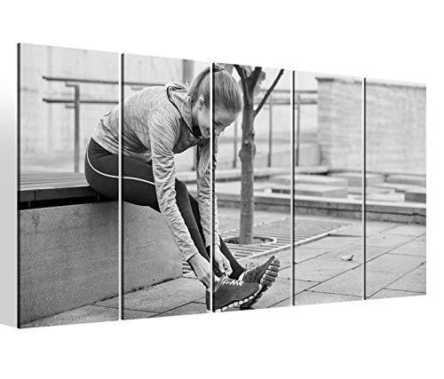 Leinwandbilder 5 teilig XXL 200x100cm schwarz weiß Sport laufen joggen Schuhe Training Fitness Druck auf Leinwand Bild 9BM2408