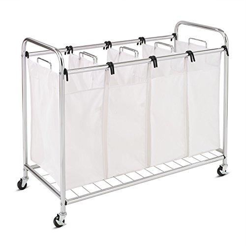 Honey-Can-Do SRT-01158 Heavy-Duty Quad Rolling Laundry Sorter/Hamper, Chrome