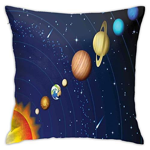 DHNKW Throw Pillow Case Cushion Cover,Solar System with Sun Uranus Venus Jupiter Mars Pluto Saturn Neptune Image ,18x18 inches