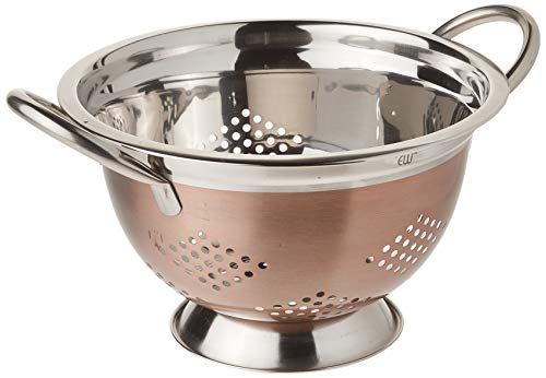 EURO-WARE High Grade Stainless Steel Colander for Pastas or Washing Fruits Vegetables Salads and More with Decorative Copper Finish 3 Quart